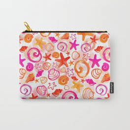 Pink & Orange Shell Watercolor Pattern Carry-All Pouch
