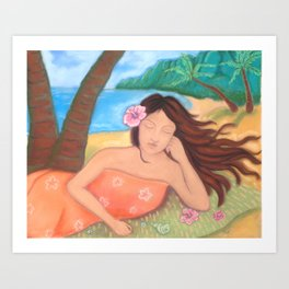 Napping Under the Coconut Tree, Hawaiiana Art Print