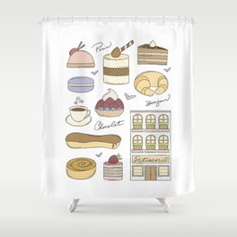 French Bakery Doodles Shower Curtain