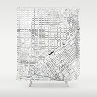 san francisco map Shower Curtains featuring San Francisco Map from 1971 by David Louis Klein
