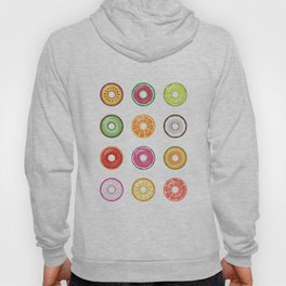 Colorful Fruit Donuts Collection Art, Sweet Fruity Donut Set, Delicious Large Printable Photography Hoody