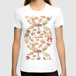 A set of watercolor mushrooms, autumn leaves, acorns, red ripe berries and nuts. Autumnal forest floral ornamental composition, isolated on white background. T-shirt