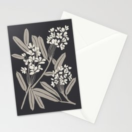 Boho Botanica Black Stationery Cards