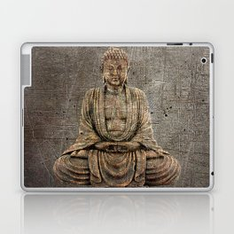 Sitting Buddha On Distressed Metal Background Laptop & iPad Skin