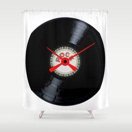 Rock Record Clock Face Shower Curtain