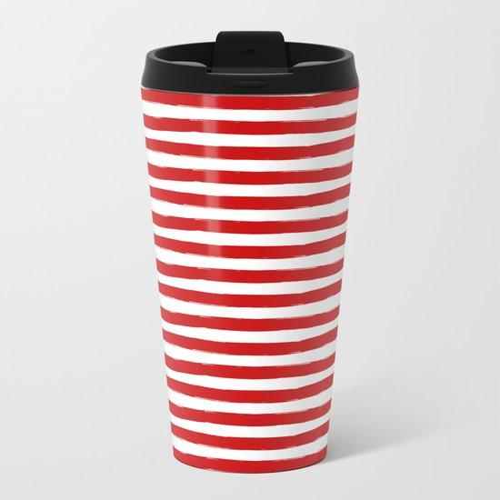 Red Horizontal Stripes Metal Travel Mug