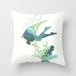 Flipped Mermaid - Ocean Blues - v3 Throw Pillow