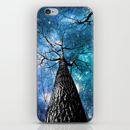 Wintry Trees Galaxy Skies Teal Blue Violet iPhone Skin