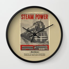 Train vintage Poster Wall Clock