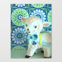 lamb Canvas Prints featuring  Lamb by Vintage  Cuteness