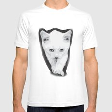 cat White Mens Fitted Tee MEDIUM