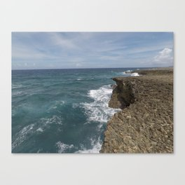 Waves against the Rocks Canvas Print