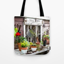 Potting Shed At Work - angled Tote Bag