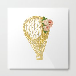 Cottage Chic Hot Air Balloon in Gold with Pink Roses Metal Print