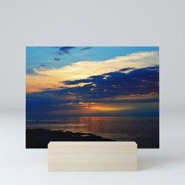 Blazing Sunset under Blue Sky Mini Art Print