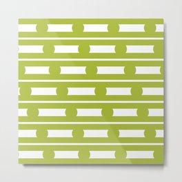 Geometric Stripe & Spots Green  Metal Print