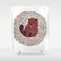 beaver Shower Curtains featuring Baby Beaver by haidishabrina