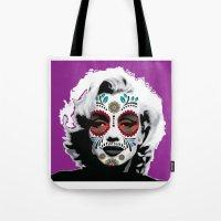 marylin monroe Tote Bags featuring Marylin de los Muertos 4 by jazzyjules63