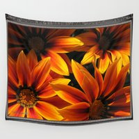 jem Wall Tapestries featuring Gazania named Kiss Orange Flame by JMcCombie