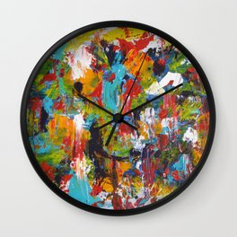 """""""The Abstract Mediterranean"""" Acrylic Painting by Noora Elkoussy Wall Clock"""