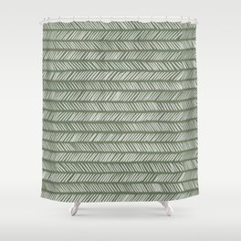 Fir Tree Green Small Herringbone Drawing Shower Curtain