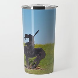 Kansas Indian on a Horse Silhouette with grass Travel Mug