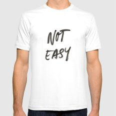 Not Easy MEDIUM Mens Fitted Tee White