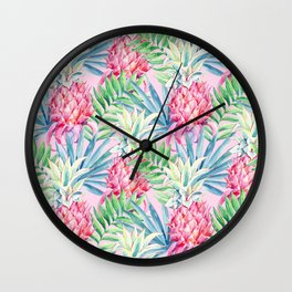 Pineapple & watercolor leaves Wall Clock