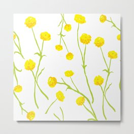 Summer Flower Pattern in Yellow and Green Metal Print