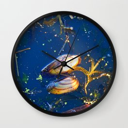 Clams in a Tidal pond Wall Clock