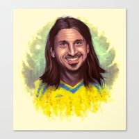 zlatan Canvas Prints featuring Zlatan drawing art by Robin Gundersen