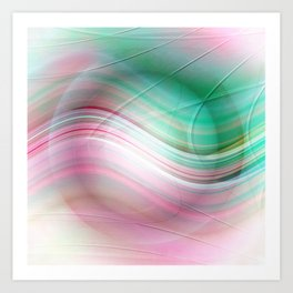 Abstract cricle green and pink Art Print