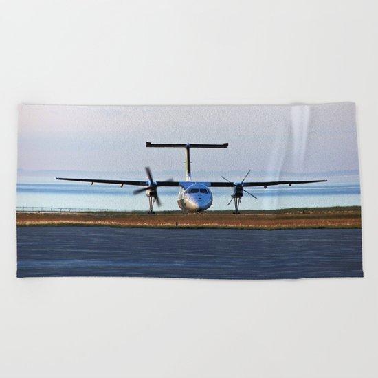 Plane Landing Beach Towel