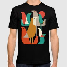 Flock of Birds Black Mens Fitted Tee MEDIUM
