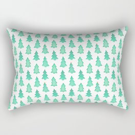Christmas Trees With One Decorated Tree Rectangular Pillow