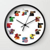 super heroes Wall Clocks featuring Super Heroes by nobleplatypus