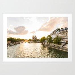 Notre Dame at Sunset Art Print
