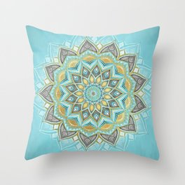 Cyan & Golden Yellow Sunny Skies Medallion Throw Pillow
