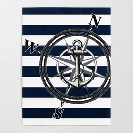Navy Striped Nautica Poster