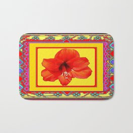 Red-Yellow Western Style Amaryllis Abstract Pattern Bath Mat