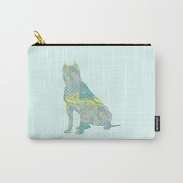 American Staffordshire Dog Vintage Floral Pattern Teal Yellow Grey Silver Shabby Chic Carry-All Pouch