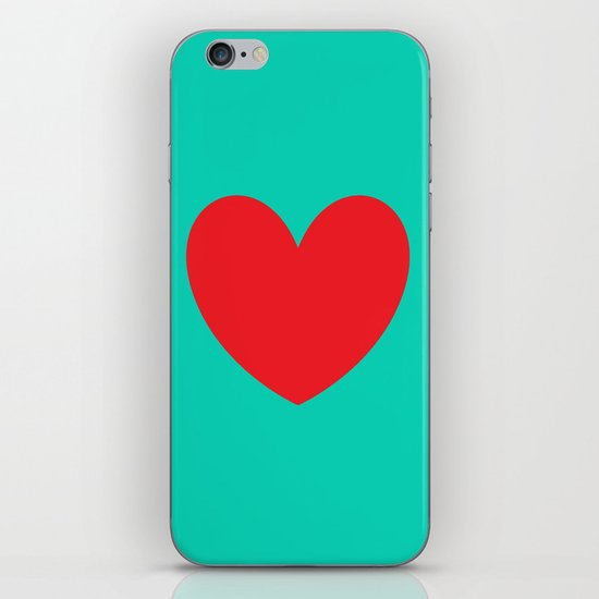 Red heart iPhone & iPod Skin