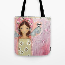 Angel with Little Bird by Flor Larios Tote Bag