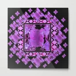BLACK ART DECO  AMETHYST GEMS   DECORATIVE ART Metal Print