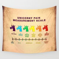 pain Wall Tapestries featuring Unicorny Pain Measurement Scale by That's So Unicorny
