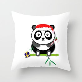 Holiday Panda Throw Pillow