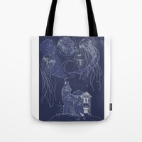 jelly fish Tote Bags featuring Jelly Fish by Jessica Bowman Illustrates