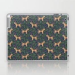 Border Terriers Spring Floral on navy - pattern Laptop & iPad Skin