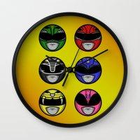 power ranger Wall Clocks featuring Mighty Morphin Power Ranger Headz by Omnibit Designs