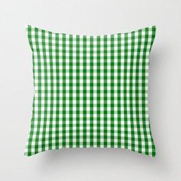 Christmas Green Gingham Check Throw Pillow